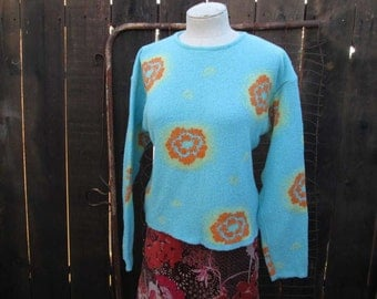 Vintage Oilily sweater Turquoise floral pullover Orange flowers sweater vintage 90s sweater M L