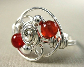 Wire Wrapped Ring Carnelian and Sterling Silver Duality