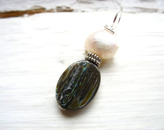Paua Shell White Pearl Pendant, Handmade Pendant Necklace Jewelry