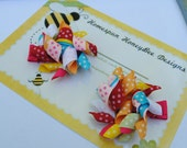 Toddler Hair Clips - Colorful Hair Bow Set - Birthday Party Hair Clips - Tiny Baby Bows - 2 Inch Piggy Tail Hairbows - Dot Korker Ribbon Bow