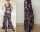 90s Vintage ABSTRACT Multicolored Light Weight Wide Leg  Pants M