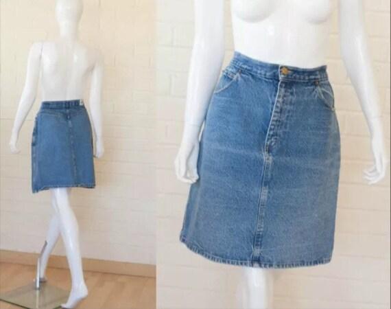 80s vintage denim blue jean mini skirt by