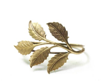 Leaf bracelet cuff brass woodland leaves branch natural bridal elegant vintage style