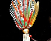 Fire Dancer Smudge Fan- All Natural Feathers