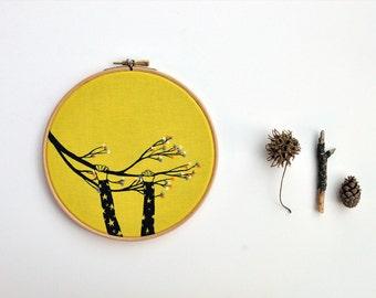 The Climber XIX  original mixed media hoop art