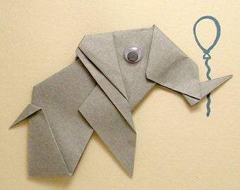 Origami Elephant Birthday Card