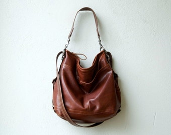 HOBO PACK in soft lightweight Italian lambskin - crossbody bag - leather backpack - with two outside open pockets - select size