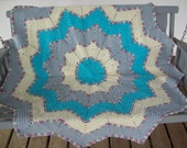 Crocheted,Gift,Afghan,12 Point Star,Turquoise,Gray,Cream,Variegated,Photo,Adults,Teens,Home Decor