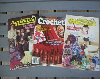 Set of 3,Crochet,Pattern,Supplies,Crafts,Annies Pattern Club,Hooked On Crochet
