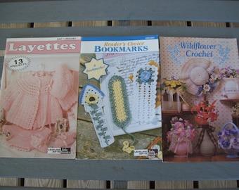 Set of 3,Crochet,Patterns,Leisure Arts,Bookmarks,Layettes,Knit,Annie's Attic,Wildflower Crochet