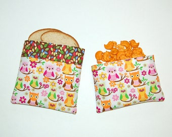 Owls on Leaves and Branches - Eco Friendly Reusable Sandwich and Snack Bag Set