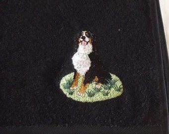 Bernese Mountain Dog Embroidered Hand Towel