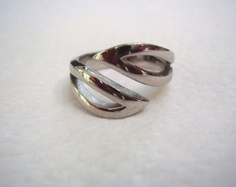 Stainless Steel Thumb Ring-size 9-double V -smooth and sturdy- free shipping