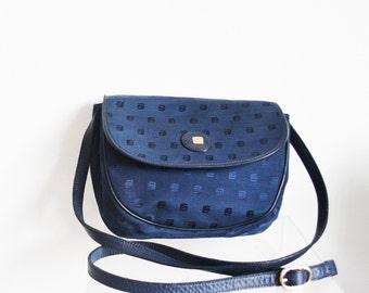 Guy Laroche Paris Bag -Blue monogram shoulder bag