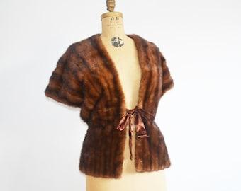vintage mink stole - fur wrap -mink fur shawl