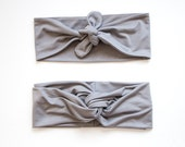 Medium Grey Turban Headband // Medium Grey Tie Up Headscarf