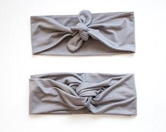 Medium Grey Turban Headband // Medium Grey Tie Up Headscarf