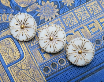Vintage White Glass Buttons with Gold Luster, German ... Pressed, Molded, Detailed Button, Flowers, West Germany,  Lot of three