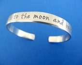 I Love You to the Moon and Back Bracelet - Personalized Cuff Bracelet - Skinny 1/4 inch
