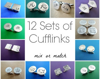 13 Sets of Personalized Cufflinks - Mix or Match Any Style - Aluminum Cuff links