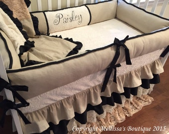 Custom Vintage Shabby Chic 4 Tier Ruffled Linen Lace & Faux Silk Boutique Complete Crib Bedding Set CUSTOMIZE