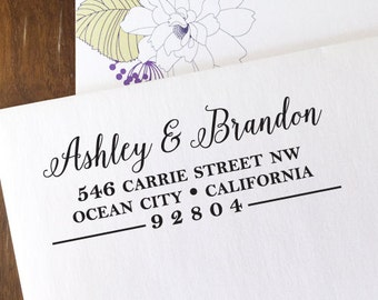 CUSTOM ADDRESS STAMP with proof from usa, Eco Friendly Self-Inking stamp, address stamp, custom stamp, custom address stamp Calligraphy 166