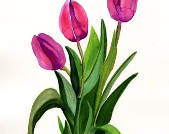 ACEO Limited Edition 1/25- Tulips Pink Magenta Original Watercolor Gift Collection Artist Trading Cards