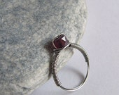 Pink Tourmaline Ring, Natural Gemstone, Sterling Silver Wire Wrapped, Size 6.5, Tourmaline Jewelry, Healing Stone