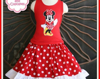 Custom Minnie Mouse Classic Disney Ruffled skirt set 12m - 16 MDCT Boutique