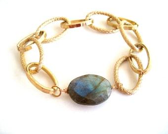 Gold Chain bracelet blue grey gemstone Flash Labradorite Gift for her Vitrine Under 60 Statement bracelet