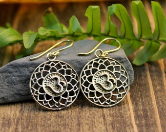 Lotus Leaf Om Earrings
