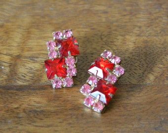 Vintage Pink Red Rhinestone Earrings --- 1950s Jewelry
