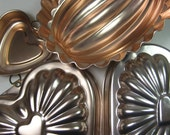 Lot of 8 Vintage Copper Colored Aluminum Jello Molds Heart Oval Shapes