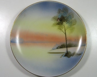 Pretty Meito Hand Painted Porcelain Plate Made in Japan Mid Century