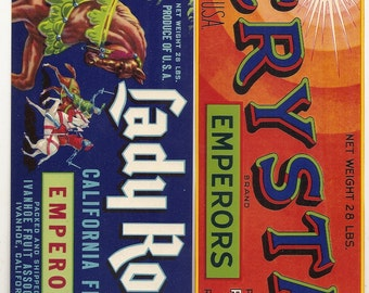 5 Old Vegetable / FRUIT Crate Labels