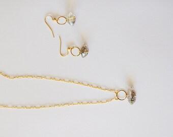 Herkimer Diamond Necklace / Simple Modern Geometric Minimalist Herkimer Diamond Gemstone Pendant Necklace Hoop Earring Set 14k Gold Chain