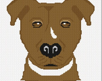 INSTANT DOWNLOAD Chella Crochet Pattern American Bull Dog Pit Bull American Staffordshire Terrier Dog  Afghan Pattern Graph Chart. .PDF