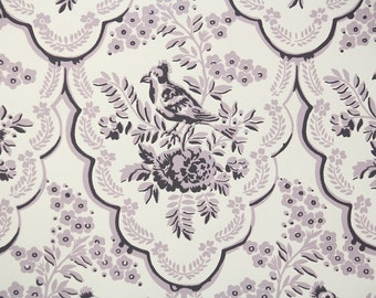 1950s Vintage Wallpaper by the Yard - Lavendar and Purple Floral Wallpaper with Bird