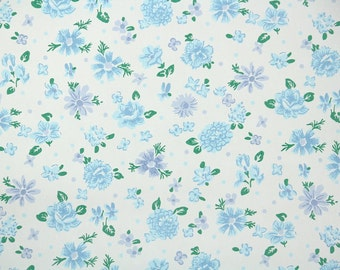 1940's Vintage Wallpaper - Floral Wallpaper with Blue and Periwinkle Flowers on White