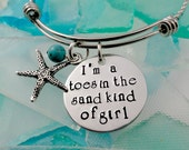Toes In the Sand Hand Stamped Beach Bracelet or Necklace - Cruise Jewelry - Ocean