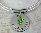 Hand Stamped Name & Birthstone Expandable Bangle Bracelet - Child or Adult- Sterling Silver Disc- Custom - Grandma Mom Mommy