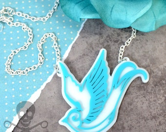 TATTOO STYLE SPARROW - Double Layered Sparrow Necklace in Turquoise and White