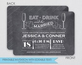 Rehearsal dinner invitation- Eat, Drink, and be Married - DIY - Instant Download & Editable File - Personalize at home with Adobe Reader