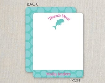 Under the Sea Thank you Notes - Pool Party - Dolphin -Flat Notecards Stationery with 2-sided printing - pink and purple