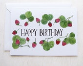 Happy Birthday Strawberries Illustrated Greeting Card