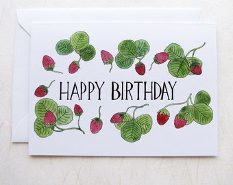 Happy Birthday Strawberries Illustrated Greeting Card