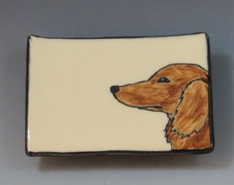 Small Handbuilt Ceramic Tea Bag Rest with Dog - Longhaired Dachshund