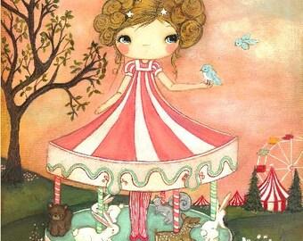 Carousel Print Carnival Girl Forest Animal Wall Art Children---Merry Go Round LARGE PRINT 11 x 14