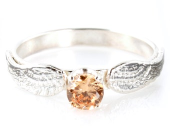 Nerdy Engagement Ring - Sterling Silver and Cubic Zirconia Engagement Ring - Geeky Promise Ring