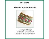 Tutorial Beading Pattern, Mumbai Masala Bracelet. PDF File Instant Download. Beadweaving Beading with Crystals and Fire Polished Beads
